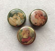Lot of 3 Vintage Tin Pill Boxes Beautiful Young Girls Designed. *EUC*