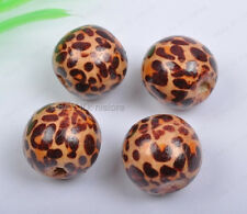 20Pcs 12MM brown wood leopard print round spacer beads DIY Findings