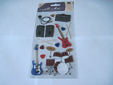 Scrapbooking Stickers Sticko Rock & Roll Guitars Drums Speakers Microphone More