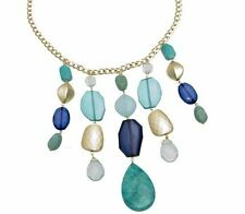 Bead Glass with Large Turquoise-Color Drop Necklace