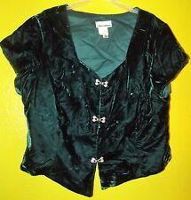Vtg VELVET SHRUG Cropped Jacket Hunter Green Plus Sz 40 Bling Crystals JORDAN