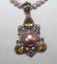 NOVICA Sterling Silver Pink Mabe Pearl and Citrine Pendant