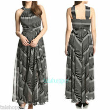 NWT 8 M $198 MUSE Gorgeous Black White Striped Long Flowing Maxi Dress