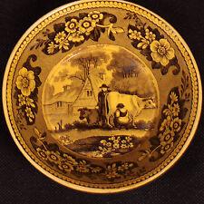 BELLE SOUS TASSE EN FAIENCE FOND JAUNE DE CREIL 1820 (2)