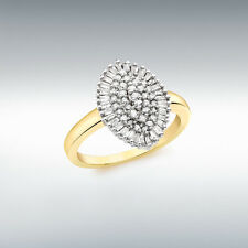 Finest 9ct Yellow Gold 0.50ct Diamond Marquise Cluster Ring Gift Box 1.84.433G