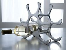 NEW Countertop Wine Rack, 6 Wine Bottle Holder, Polished Aluminum Silver