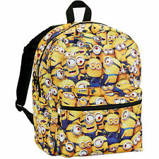 "16"" Minions Despicable Me All Over Print Backpack School Book Bag Tote NWT"