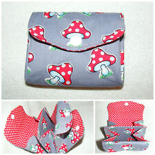 Toadstool Grey Fabric 3 Compartments Handmade Coin Purse