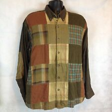 Clearwater Outfitters Patchwork Multi Color Shirt  Elbow Patches XL Work Shirt