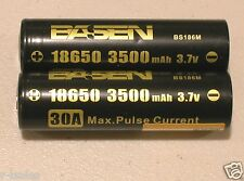 2 BASEN IMR 18650 RECHARGEABLE HIGH DRAIN 30a 3500mAh BATTERY 3.7v w/free case