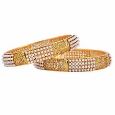 Shourya Exports Latest Bollywood 18K 2.8 inch Awesome Designer Pearl Bangle Set