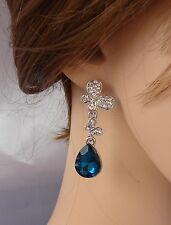 ELEGANTE Orecchini argento blu  farfalla strass ,cristalli ,donna,idea regalo