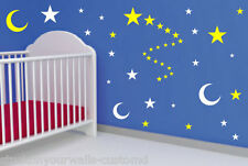 54 STARS AND MOON VINYL BEDROOM WALL DECALS STICKERS BABY KIDS DORM ROOM NURSERY