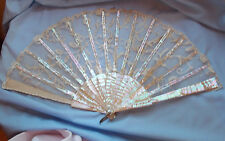 Ladies Mother of Pearl antique fan MOP Brussels Lace ? ? nice sticks