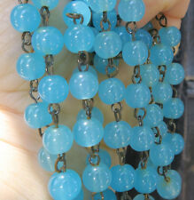 """12""""inch glass bead macaroni prism chain strand part Opaline Blue brass for lamp"""