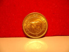 very rare 24CT GOLD ON Republic of Liberia one and a half cent coin BUNC new