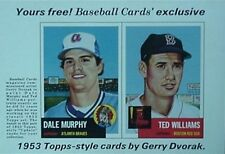 1984 BASEBALL CARDS MAGAZINE 2-CARD PANEL INSERT(TED WILLIAMS & DALE MURPHY '53s