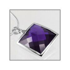 Sterling Silver Square Pendant w/CZ Amethyst 21mm 65015