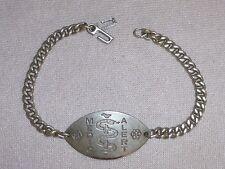 "Vintage 8"" MEDIC ALERT Bracelet Pre Owned With Engraving Sterling Silver"