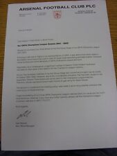 2001/2002 Arsenal: Club Headed Letter, Re: UEFA Champions League, Allocation For
