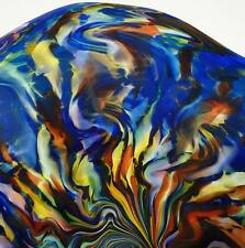 HAND BLOWN GLASS ART WALL BOWL PLATTER BY DIRWOOD, MURANO STYLE BLUE BACKGROUND