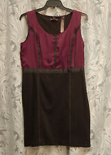 DANA BUCHMAN VINTAGE RUBY SATIN BLACK KNIT SLEEVELESS SHEATH DRESS~14~L~XL~NEW