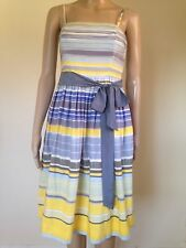 Anthropologie Maeve Paraiso Size 4 Strapless Dress Sash Blue Yellow Striped