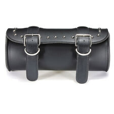 Motorcycle Front Forks Tool Roll Bag Leather Round Barrel Shape Storage Black