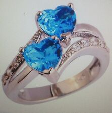 SKY BLUE TOPAZ HEART SHAPE BYPASS RING STERLING  SIZE 6/8/9/10
