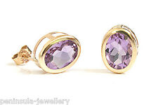 9ct Gold Amethyst Oval stud Earrings Gift Boxed Made in UK