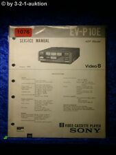 Sony Service Manual EV P10E Video Cassette Player (#1076)