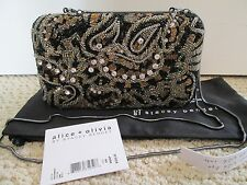 NWT Aut Alice + Olivia Beaded Embroidered Hard Shell Convertible Clutch Bag $495
