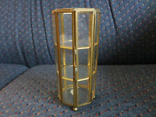 """HTF Vintage Small 6"""" Octagon 8 Side Display Glass Brass Miniature Curio Cabinet"""