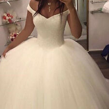 Off Shoulder V Neck Ball Gown Wedding Dresses Puffy Tulle Country Bridal Gowns