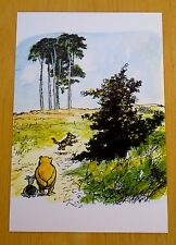 WINNIE-THE-POOH POSTCARD ~ POOH BEAR & PIGLET WATCH TIGGER IN 100 ACRE WOOD