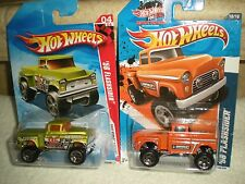Classic Hot Wheels Chevy 56 Flashsider Lifted Truck Lot (2) Diecast 1:64
