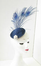 Navy Blue Peacock Feather Fascinator Headpiece White Hair Clip Vintage Races 200
