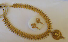 South Indian temple jewelry gold beautiful long necklace set and earring 116