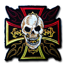 Iron Cross Skull Fire Patch Iron on Tattoo Harley Chopper Biker Motorcycle Badge