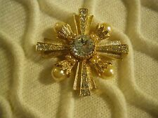 R.J. GRAZIANO MALTESE CROSS PIN W/ENHANCER, FAUX PEARL AND CRYSTALS, MINT