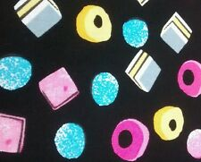 """Retro Sweets licorice allsorts fabric 45"""" 100 % cotton poplin sold by the metre"""