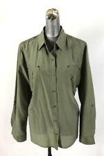 womens olive green CHICOS shirt top blouse silk sheer military modern XL 3