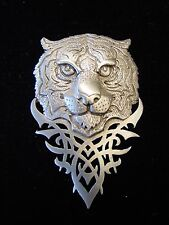 """JJ"" Jonette Jewelry Silver Pewter VERY DETAILED Tiger Face Design Pin"