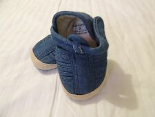 Toddler Boys Carter's Soft Fabric Sandal Shoes Size 3 Denim Blue & Tan Trim EUC
