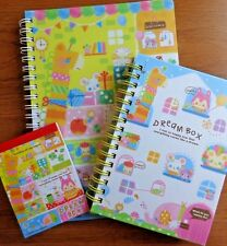 "NEW! RARE!  LOT 3 Q-LIA KAWAII ""DREAM BOX"" LINED JOURNAL NOTEBOOK MEMO PAD"