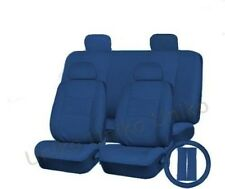 Car Seat Covers Solid Blue PU Synth Leather Steering Wheel Bucket Headrests CS1