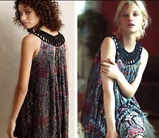 NWT SZ M $228 ANTHROPOLOGIE LINNEA VELVET BURNOUT SWING DRESS MOULINETTE SOEURS
