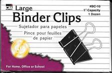 """New in Box CLI Binder Clips, 2"""" wide, 1"""" capacity, 12 count #BC-10"""