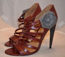 RARE L.A.M.B. GWEN STEFANI HIGH HEEL RED STRAP LEATHER SANDALS SHOES SZ 9 EC