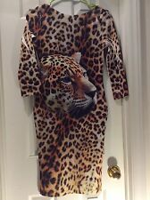 Tiger Dress Printed Scoop Back Long Sleeve Dress Size S Fitted Elastic Fabric